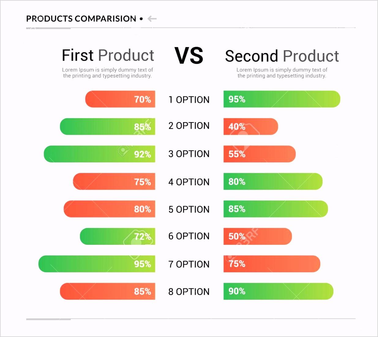 photo stock vector parison table chart vector pare template versus layout design parision