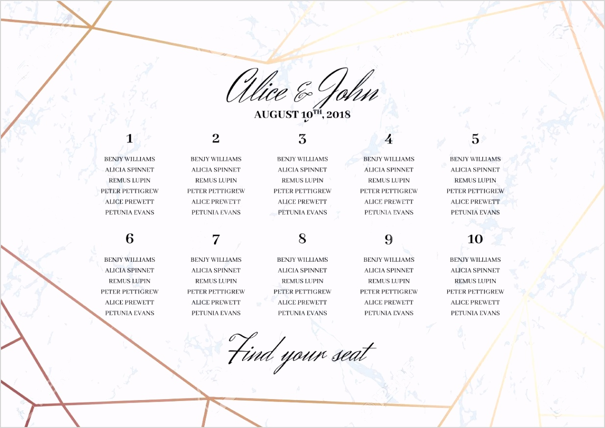 photo stock vector wedding seating chart poster template geometric design in rose gold on the marble background dimensi
