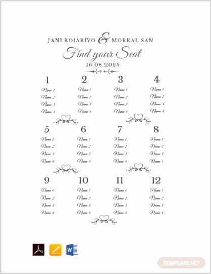 Free Sample Wedding Seating Chart Template