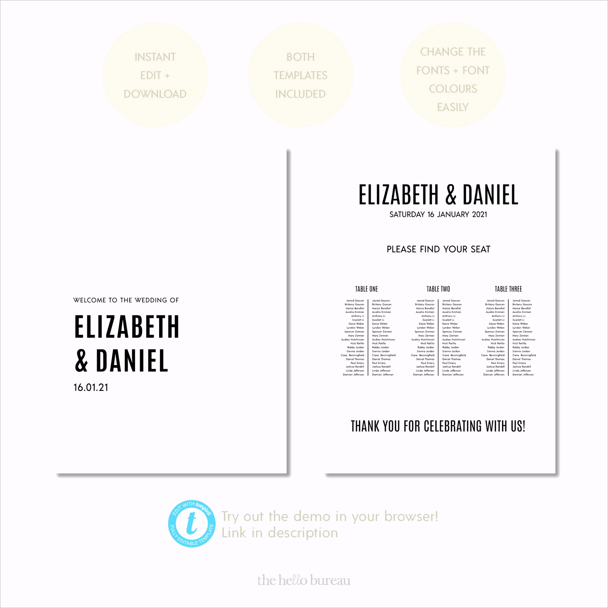 berlin editable wel e sign and 3 long tables seating chart template bundle