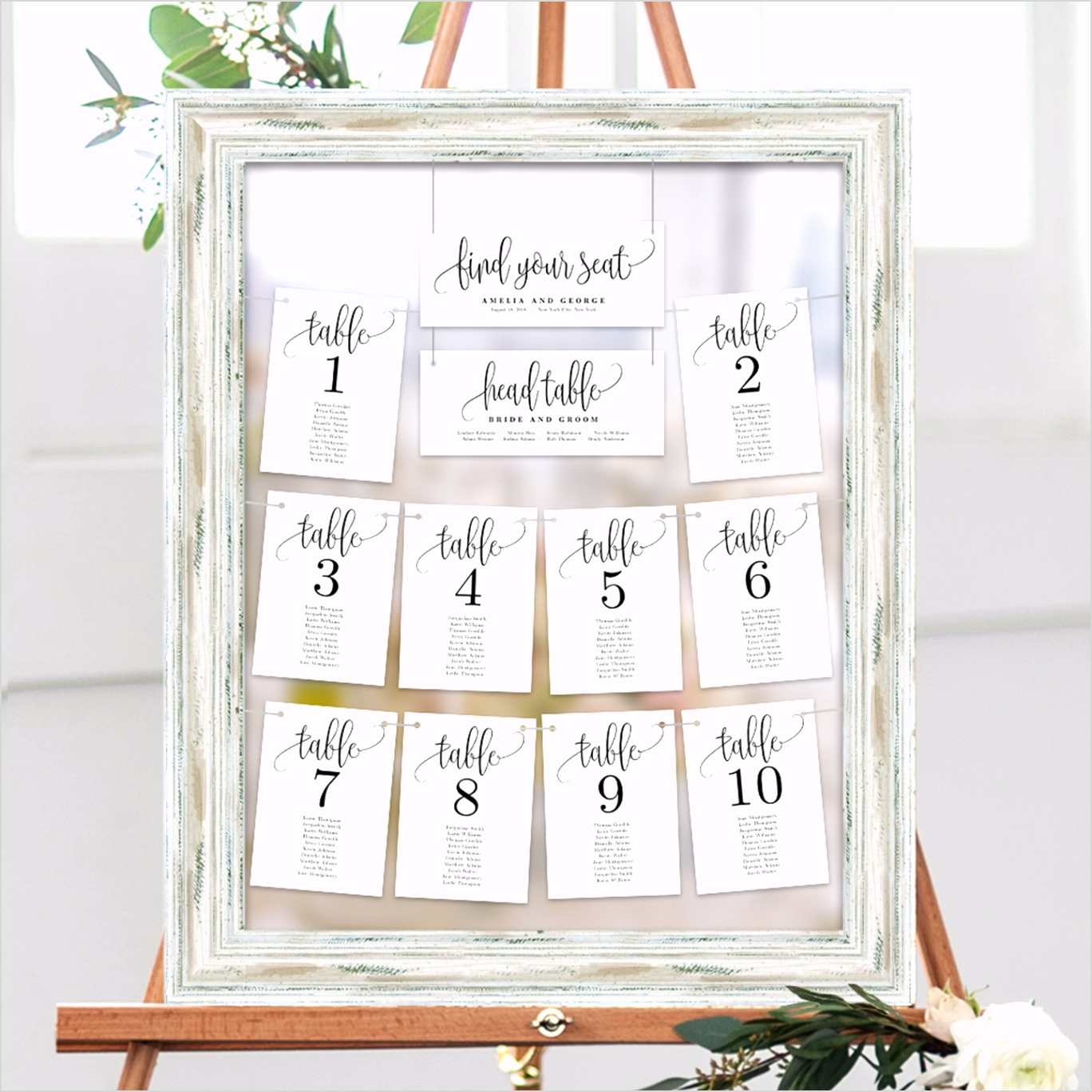 Printable Table Seating Chart Template Seating Plan Cards Lovely Calligraphy White 2