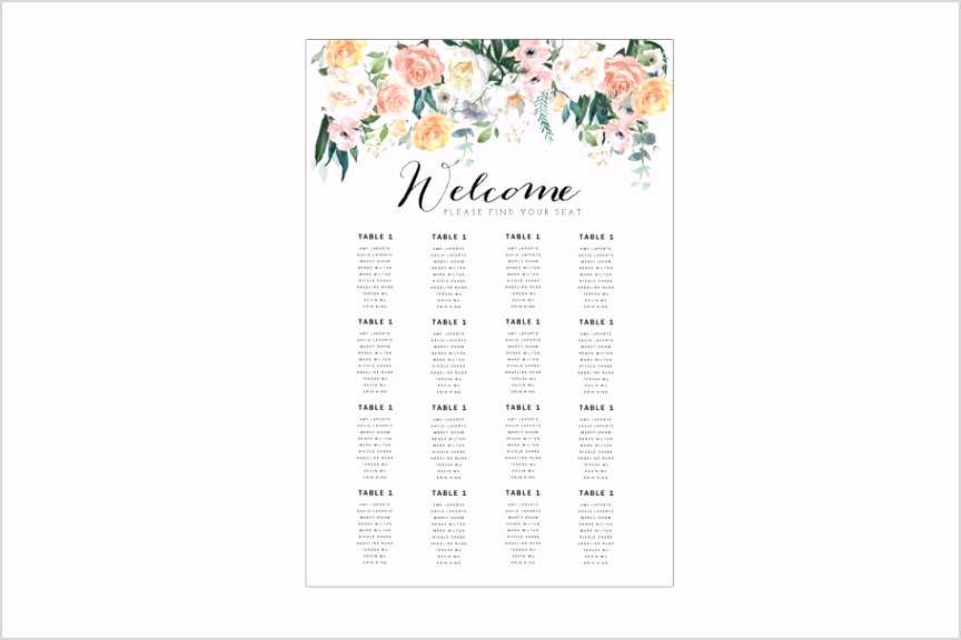 wedding seating chart template 1
