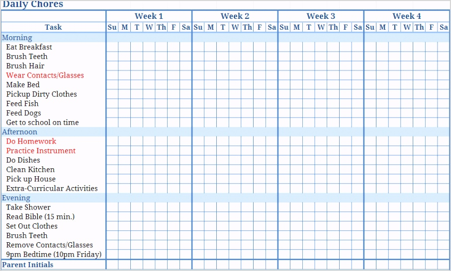 post monthly chore chart printable templates