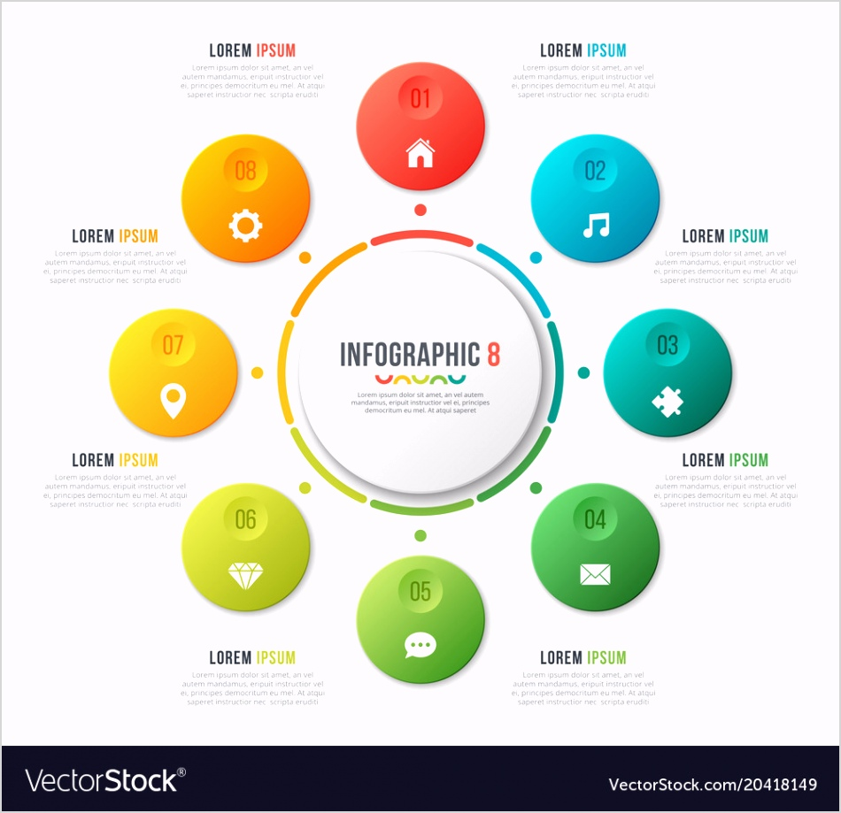 circle chart template with 8 options vector