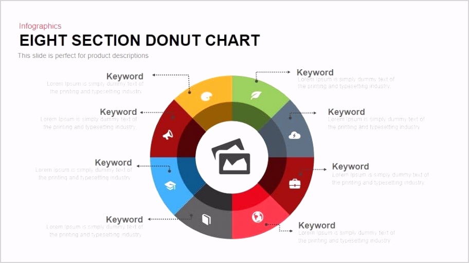 Eight Section Donut Chart Powerpoint and Keynote template