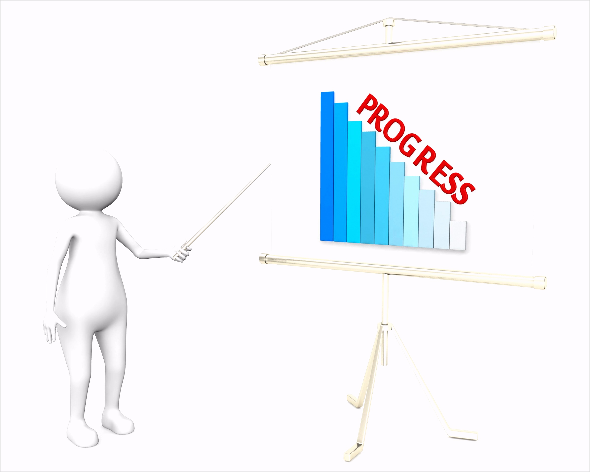 3d man showing graph bar with progress on flip chart stock photo Slide01