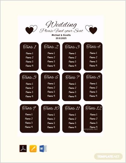 Free Blank Wedding Seating Chart Template 440x570 1