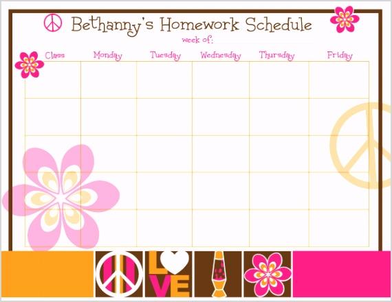 retro icons homework chart