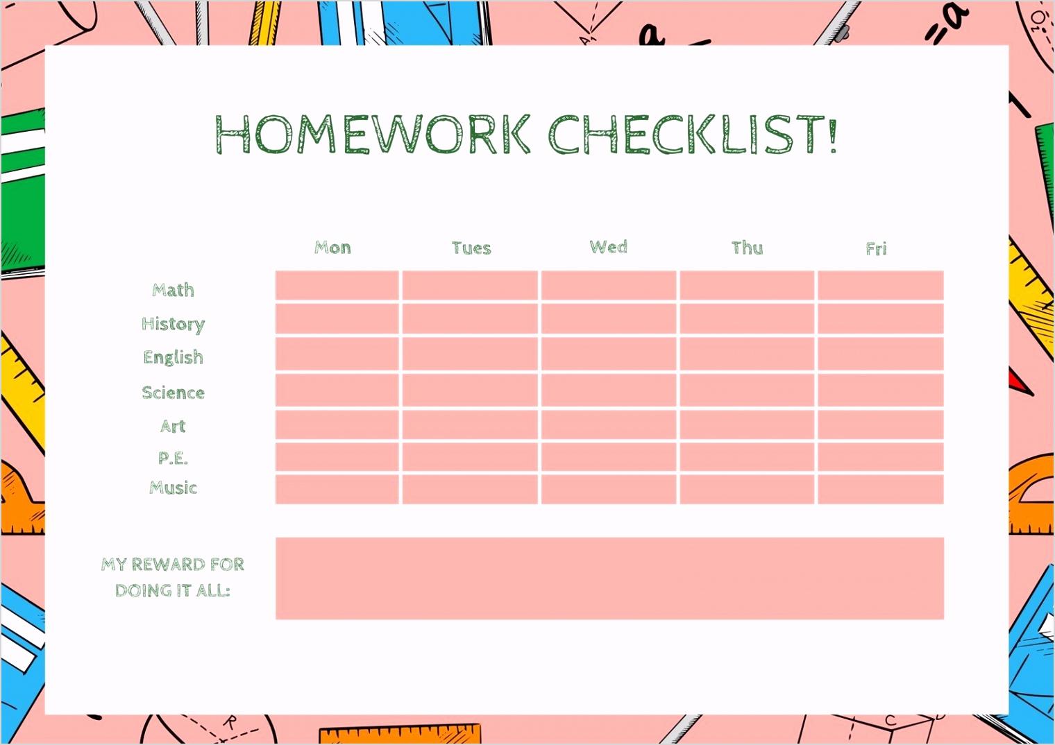 EADaoI94GP0 pink and white school homework checklist reward chart