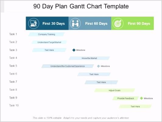 90 Day Plan Gantt Chart Template Ppt PowerPoint Presentation Outline Graphics Slide 1