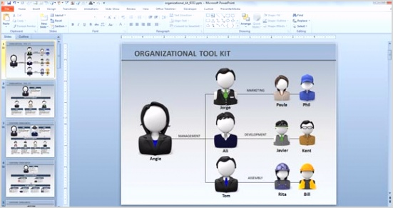 animated org chart powerpoint template free
