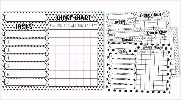 visual featured free printable chore charts
