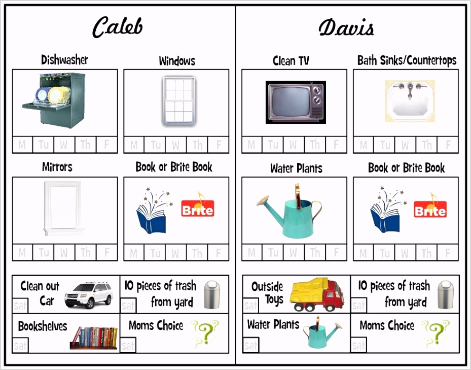 Chore Chart Template For Multiple Kids