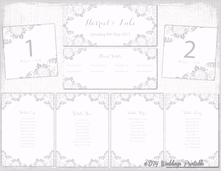 wedding seating chart template silver gray quotantique lacequot printable wedding table plan cards diy seating plan word instant