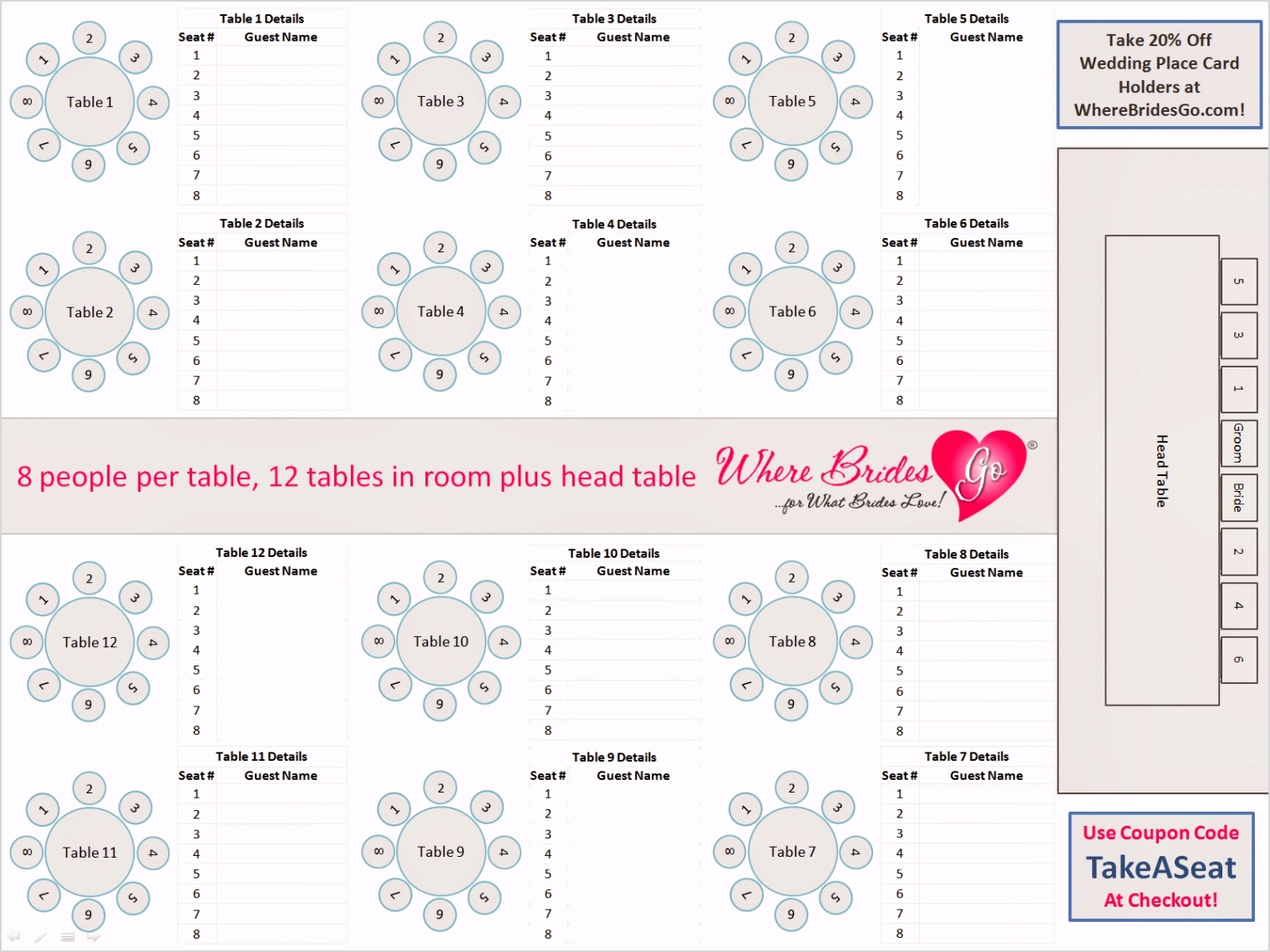 wedding seating chart free template
