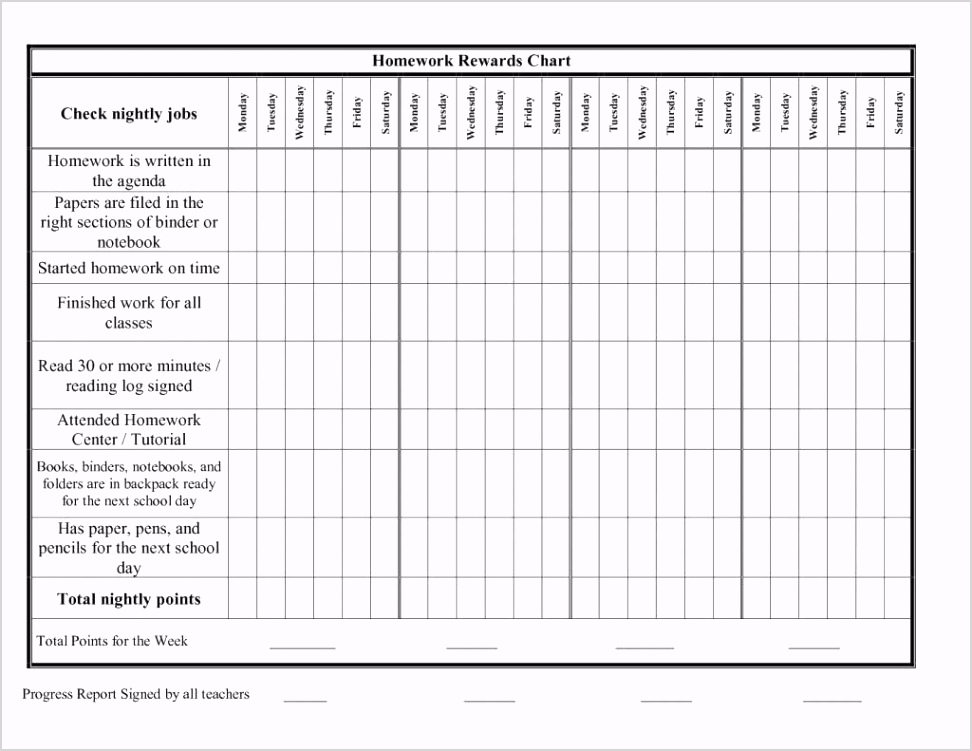 Blank Chart Template For Teachers With images