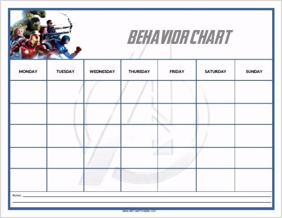 free printable avengers behavior chart