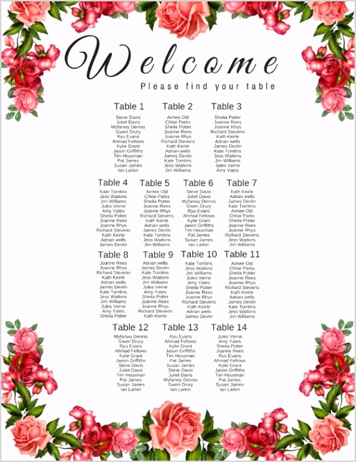 Seating Chart for Wedding Bridal shower party artwork Wedding Seating Chart Template
