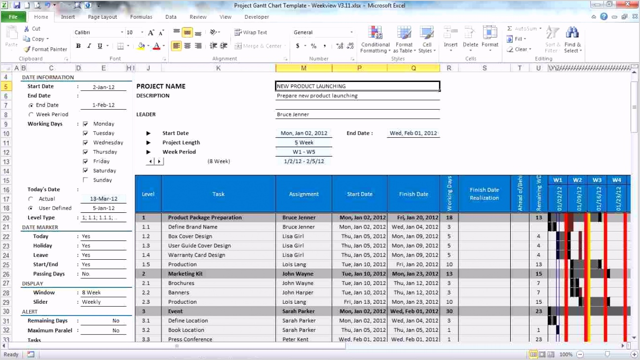 project gantt chart template for excel