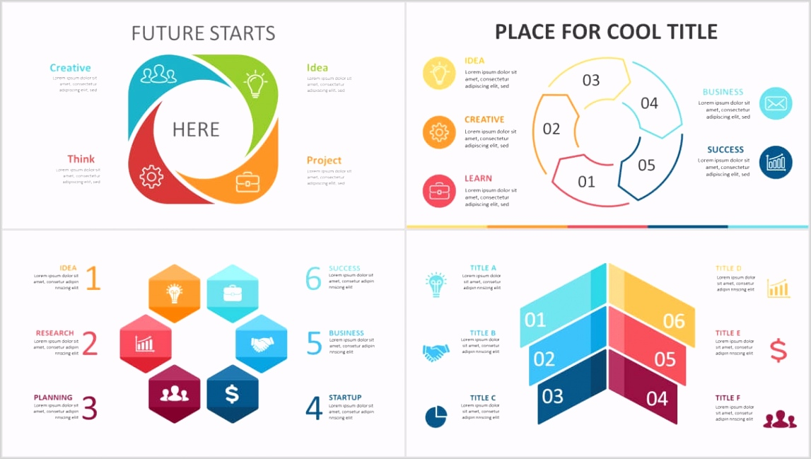 free 4 5 6 steps flow chart powerpoint diagram