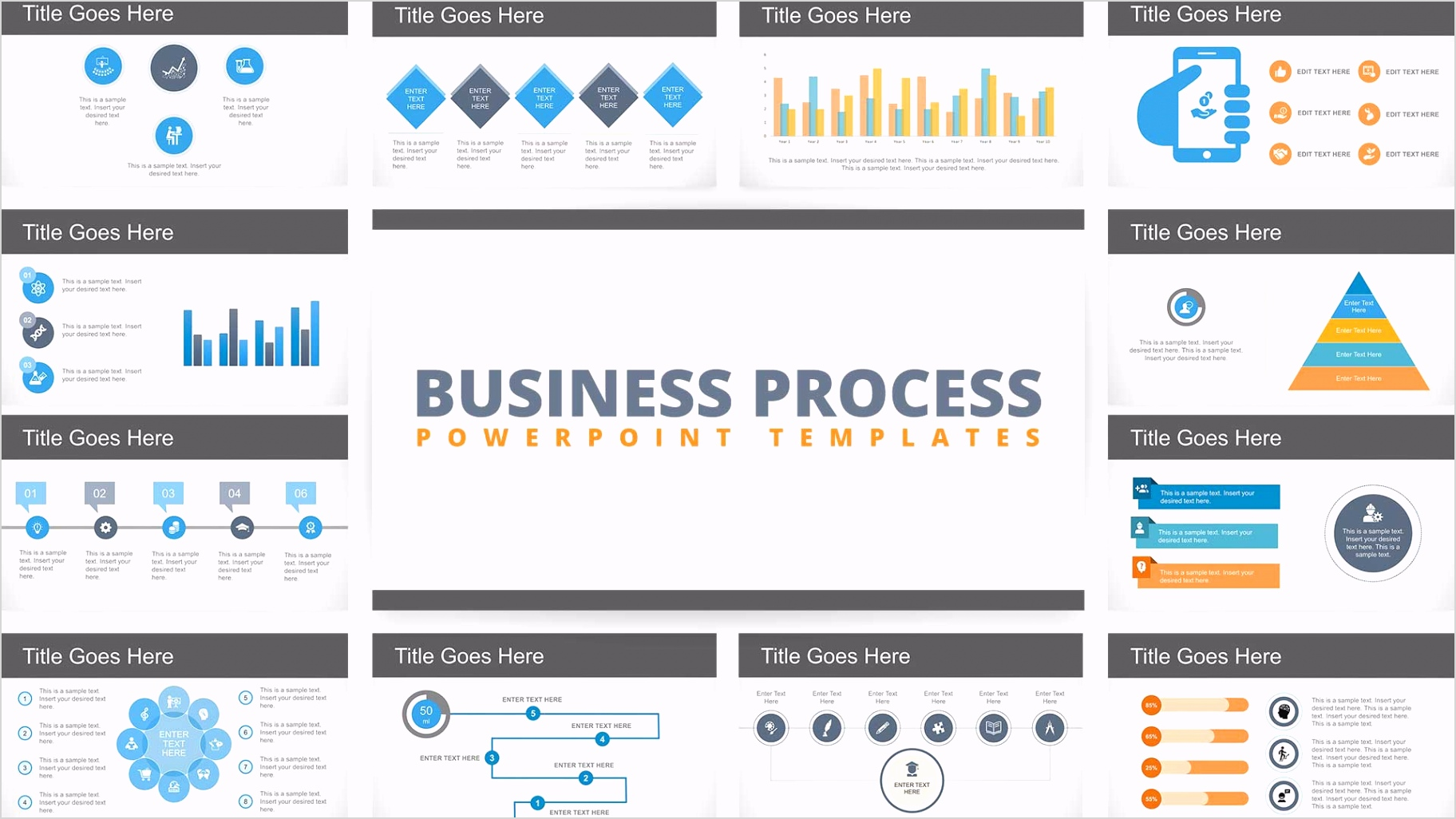 FF0241 02 flat business process diagrams powerpoint template