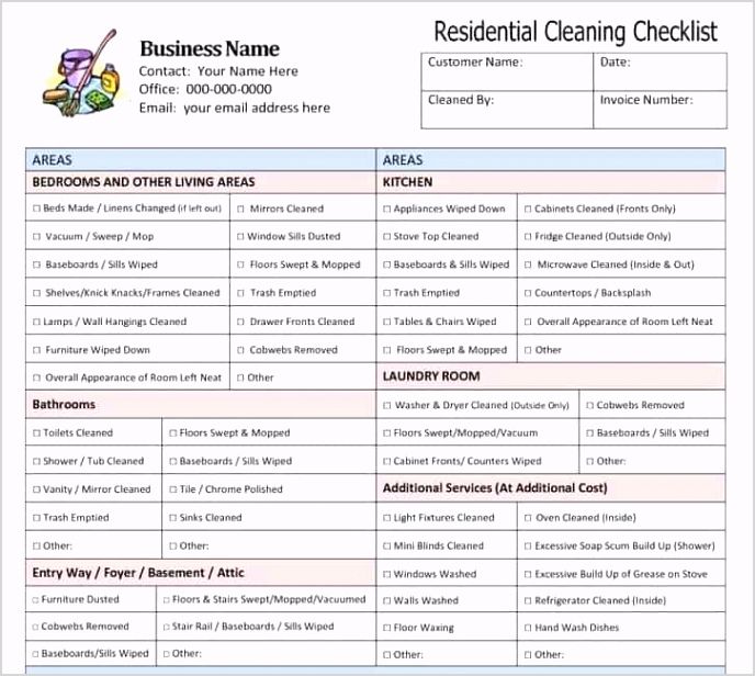 House Cleaning List Template 3941 e