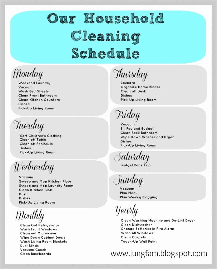 post daily house cleaning schedule printable