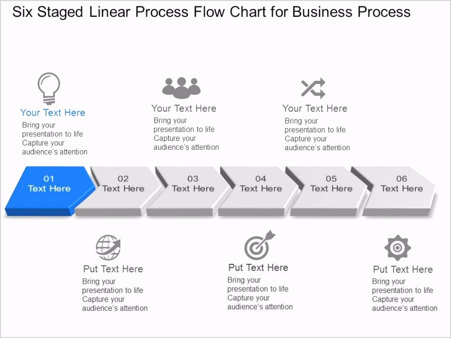 six staged linear process flow chart for business process powerpoint template slide Slide01