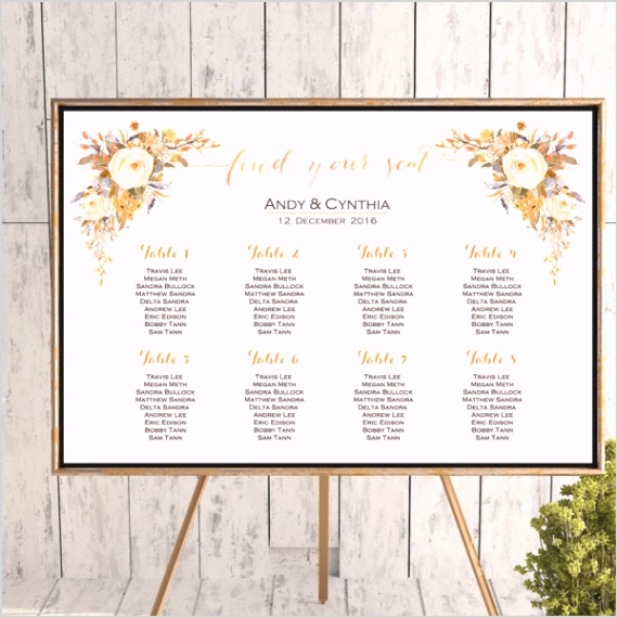 Custom Sunset Floral Find your Seat Chart Printable Wedding Seating 85yr 600x600