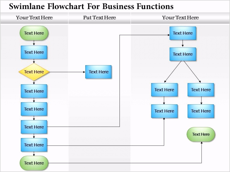 0814 business consulting diagram swimlane flowchart for business functions powerpoint slide template Slide01