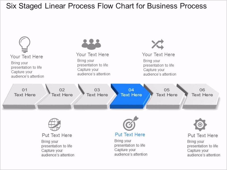 six staged linear process flow chart for business process powerpoint template slide Slide04