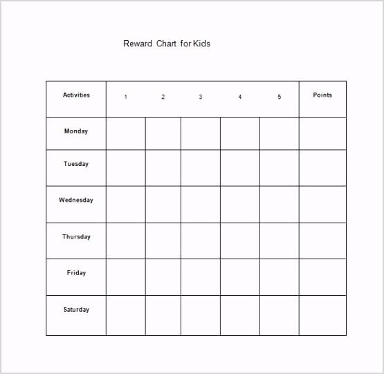 Kids Reward Chart Free Word Template Downlaod