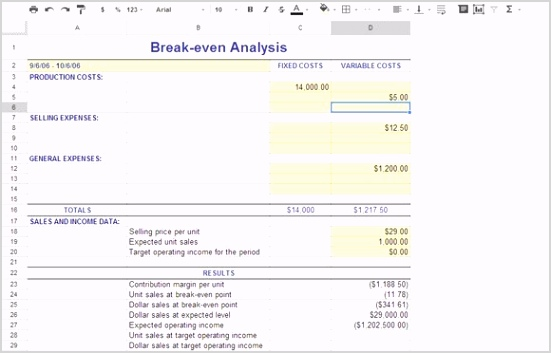 break even google spreadsheet