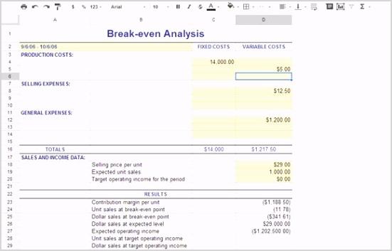 break even google spreadsheet