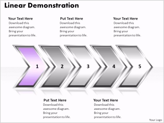 ppt linear demonstration of arrows powerpoint 2010 org chart templates