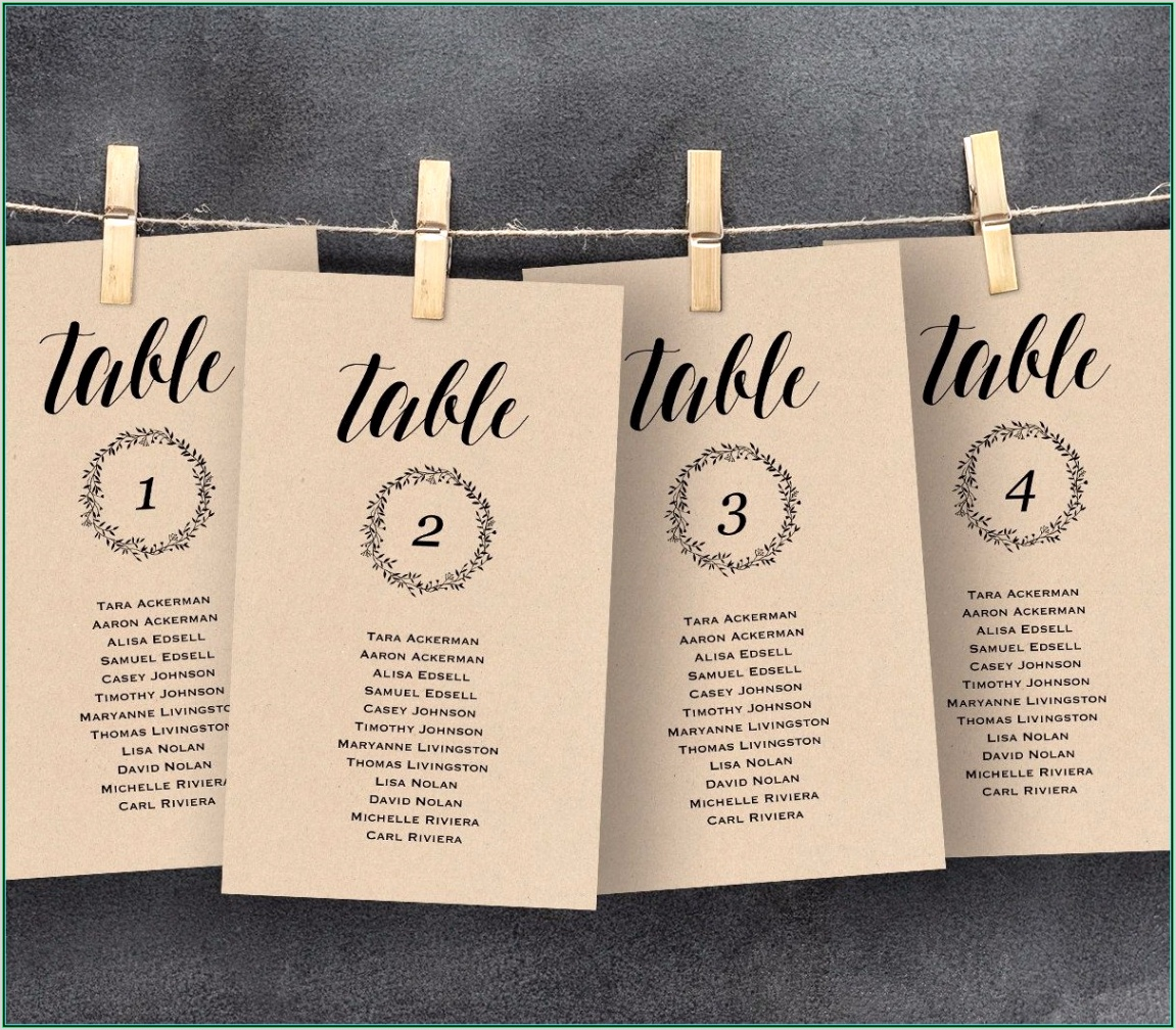wedding seating chart card template