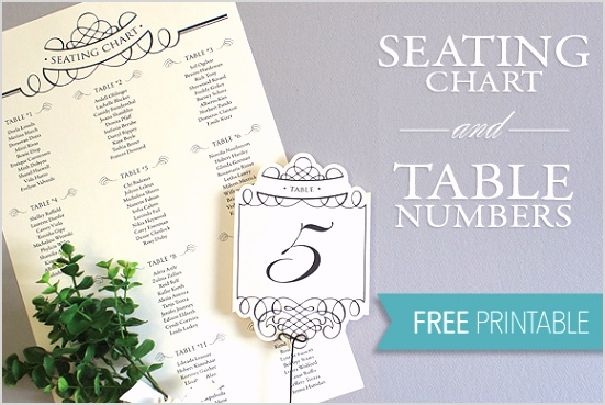 printable seating chart and table number