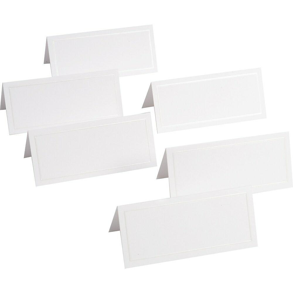 Gartner Studios Placecards 3 1 4 X 1 5 8 White With White Pearl Bo Staples Ca