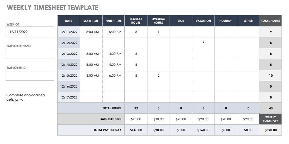 17 Free Timesheet and Time Card Templates | Smartsheet