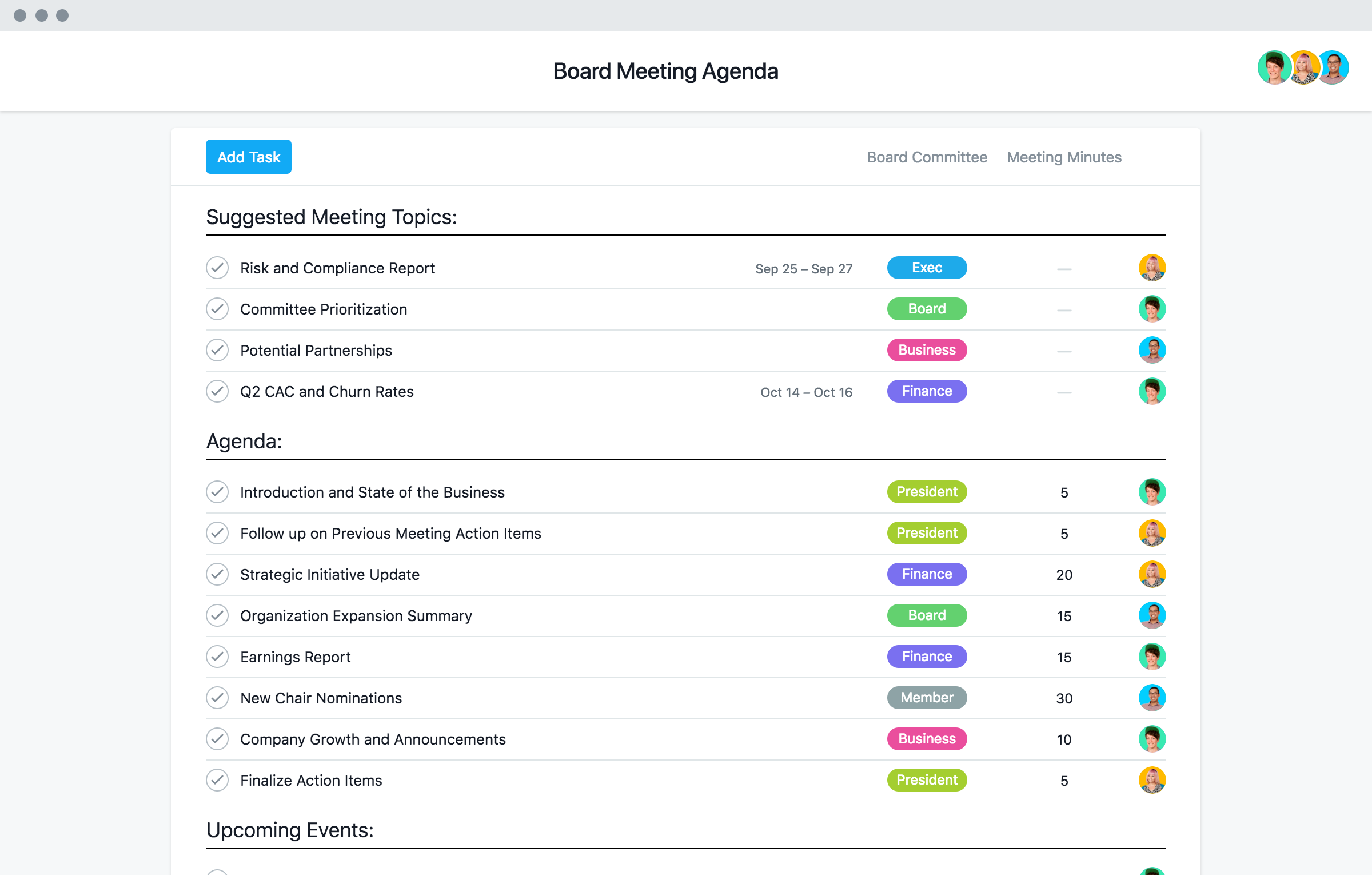 Board Meeting Agenda Template Corporate Meeting Minutes Asana